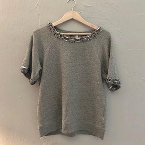 J Crew Embellished Short Sleeve Sweatshirt